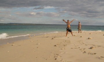 Amanda revels in the white sand of Nosy Shaba, Madagascar