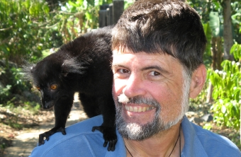 A wild Black Lemur on Jon's shoulder