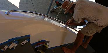 Jon installing the starboard sugar-scoop grab-rail