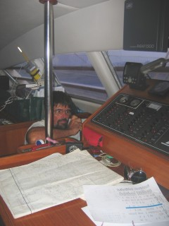 Jon on the radio, en route to Tonga, May 2004