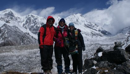 Jon, Sue, Bianca with Kabru Peaks and moraine, Kanchendzonga Nationla Park, Sikkim, India