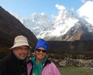 Jon and Sue in Kambachen, Kanchenjunga Trek, Nepal