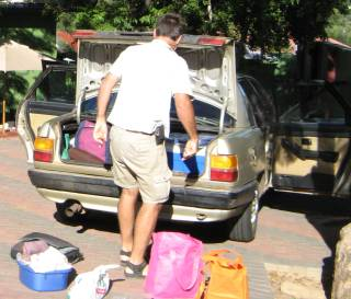 Unloading the jigsaw puzzle of stuff in the boot