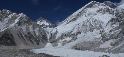 Everest (behind) above the notorious Khumbu Ice-fall