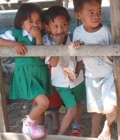 Cheerful smiles of the kids on Lomblen Island.