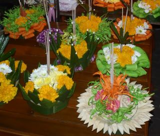 "So many beautiful ""krathong"" offerings"