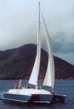 Lady sailing fast in St. Lucia 1981