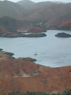 Beautiful, secluded Laguna Grande on mainland Venezuela. We are the only boat in sight.