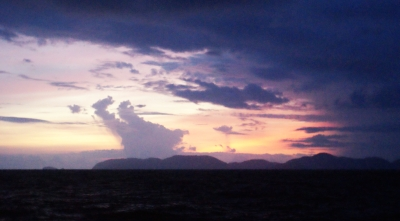 Land Ho!  Surin Islands at sunrise.  And another squall!