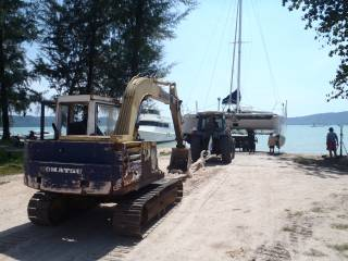 Another cat launching at Coconuts Boatyard, Phuket, Thailand.  Someday it will be Ocelot!