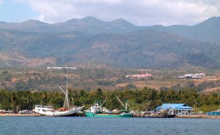 The anchorage off Lewoleba town, Lomblen, Indonesia