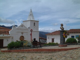 Los Nevados central square.  Our posada was just behind the church