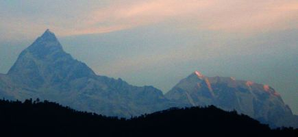 Dawn over Machhapuchhare and Annapurna 3 from Pokhara