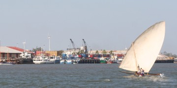 Dhows and freighters, Majunga harbor, Madagascar