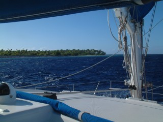 Approaching the cut into Makemo, our first Tuamotu Atoll