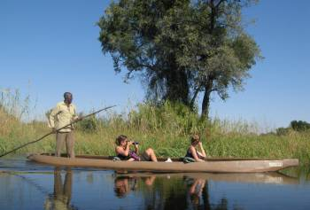 Poling slowly through the Okavango Delta, Botswana. Awesome!