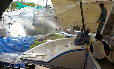 A new spray tent grew up over the port sugar-scoop