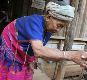 Greeting the matriarch of the Karen village