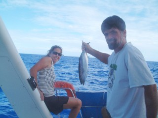 FISH ON!!  A nice tuna for dinner!