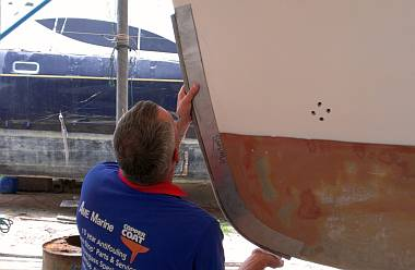 Mike checking the fit of a stainless steel bow-protector
