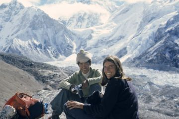 Sue and Nima in 1974, in front of Mt. Everest