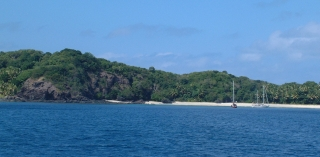 Namara Island is a welcome sight after the passage from Viti Levu