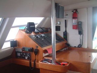 The nav desk with radar, Ham/SSB radio, new Garmin GPS, etc.