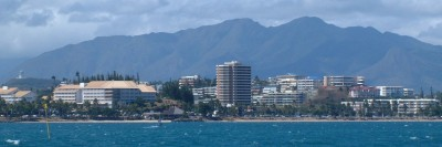 High hills frame the buildings of downtown Noumea, New Caledonia