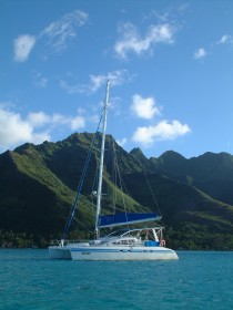Ocelot at anchor in secluded Moorea
