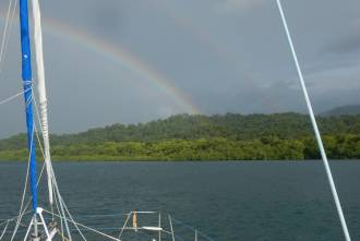 Rainbow as we approached Tokussup Bay
