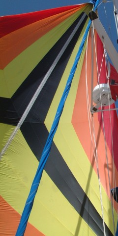 "Ocelot sailing under our spinnaker (the ""'Chute"")"