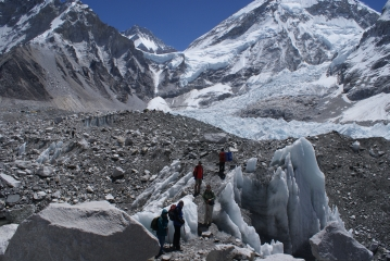 On the Khumbu Glacier, heading for Base Camp