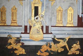 Gilded  mural in the Royal Palace, Bangkok