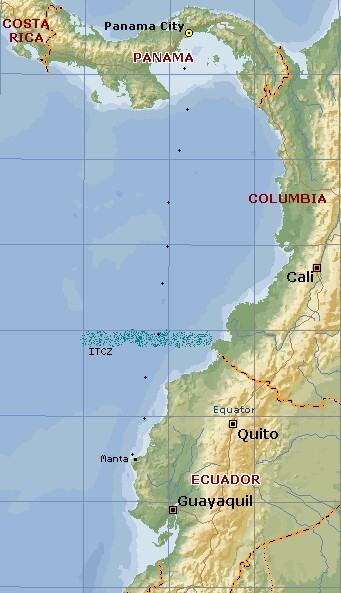 Our track from Panama, past Columbia, to Manta, Ecuador
