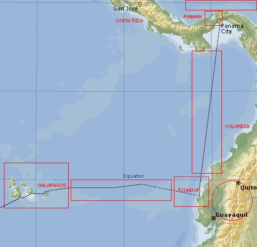 The East Pacific - Click on a marked part of the map to go to that page