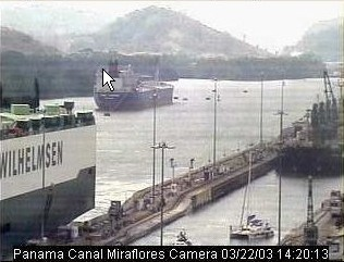 Web-cam shot of Ocelot entering Miraflores Locks