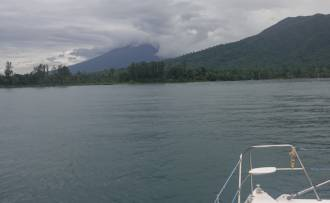 Approaching our Pandi River anchorage