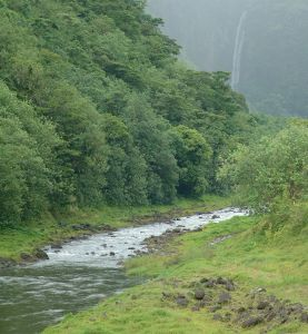 2 waterfalls in the mist, looking up the Papenoo River Valley