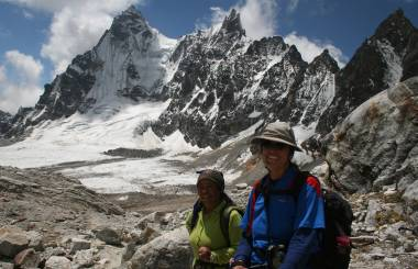Not bad for 60! Pema & Sue, on Renjo La, 15000ft