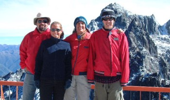 Jon, Amanda, Sue and Chris at 15,000 feet! Top of the teleferico.