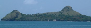"Pigeon ""Island"" (now a peninsula) and Fort Rodney"