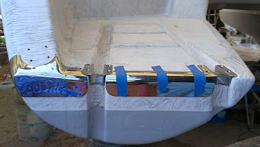 The new SS transom protectors, with the swim ladder hinges