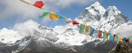 Prayer flags in front of Ama Dablam