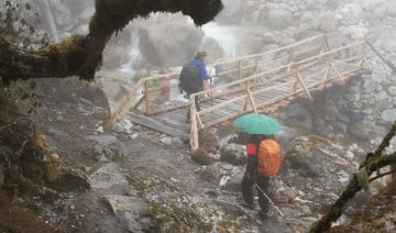 Crossing the PrekChu in mist & snow, Sikkim, India