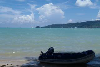 Calm afternoon at Ao Chalong, Phuket, Thailand.  No tsunami.