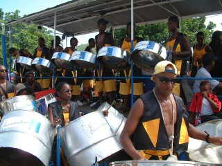 A steel drum band at the Grenadan carnival