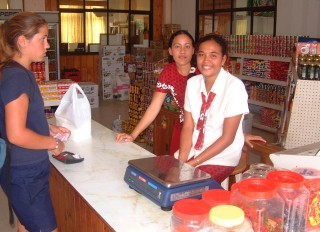 Amanda at Pua's, the biggest grocery store in Vava'u, Tonga