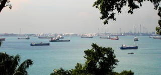 The busy quarantine anchorage in Singapore.