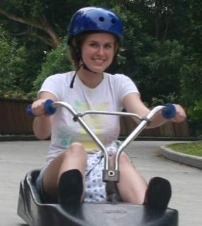 The Sentosa luge with driver Rachel. Watch out!