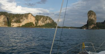 Approaching Railay west anchorage, near Krabi